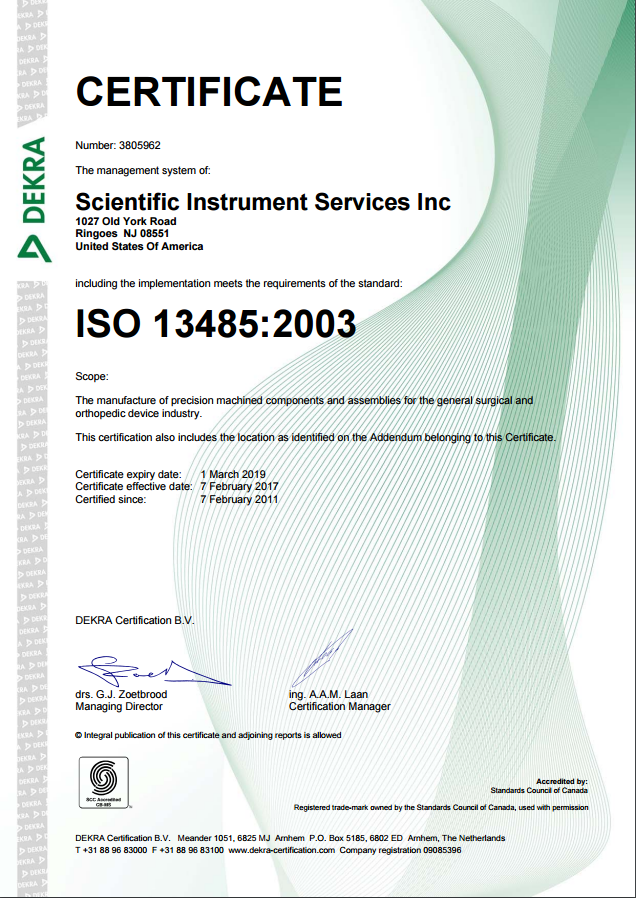 ISO13485:2003 certification